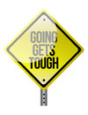 Conceptual road sign warning of tough times ahead illustration Stock Photos