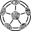 Conceptual soccer ball this is a made of differnt icons Royalty Free Stock Images