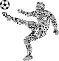 Conceptual soccer player this is a made with different icons Royalty Free Stock Photography