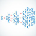 Conceptual stick figures depicting viral marketin vector illustration of the concept of marketing with groups of people separated Stock Images
