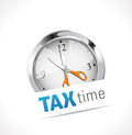 Conceptual tax sign illustration of a clock with scissors on a white background Stock Photo