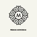 Conceptual template vector Square logo design and monogram concept in trendy linear style, floral badge, emblem