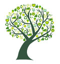 Conceptual tree with bio eco and environmental symbols and icons where the leafs are replaced by Stock Photo