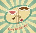 Conceptual valentine card with mustache and lips vector illustration Stock Image