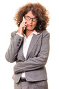 Concerned business woman talk on smartphone young phone isolated white background Royalty Free Stock Photography