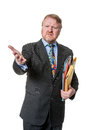 Concerned businessman with folders - on white Royalty Free Stock Photo