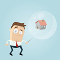 Concerned businessman with house in a soapbubble and a needle Royalty Free Stock Photo