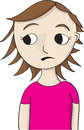 Concerned looking girl cartoon illustration in pink shirt sideways with look Stock Images