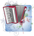 Concert Accordion & floral calligraphy ornament Royalty Free Stock Photo