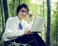 Concetto di working outdoors nature dell uomo d affari Immagine Stock Libera da Diritti