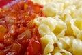 Conchiglie italian pasta close up Stock Image