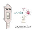 Concieving, contraception and impregnation elements set in cartoon style