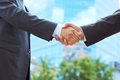 Conclusion business associates shaking hands beginning their partnership Royalty Free Stock Photos