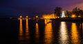 Concord point lighthouse and a pier at night in havre de grace maryland Stock Photography