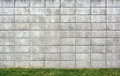 Concrete Block Wall Background with Grass Royalty Free Stock Photo