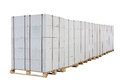 Concrete blocks on the pallet aerated isolated white background clipping path is saved Stock Photo