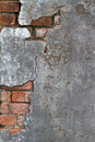 Concrete and brick texture cracked revealing a layer below Royalty Free Stock Photos