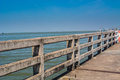 Concrete bridge railing show across the sea Stock Photos