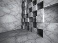Concrete cubes chaotic wall construction. Empty dark room interior Royalty Free Stock Photo