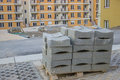 Concrete curb block on the pallet at construction site Stock Photography