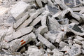 Concrete debris stacked into a wall Royalty Free Stock Photo