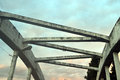 Concrete diagonals top of a croncrete bridge Stock Photo