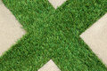 Concrete Floor and Green Artificial Grass Royalty Free Stock Photo