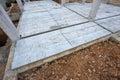 Concrete floor slab panel in building construction site Stock Image