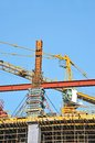 Concrete formwork and crane on construction site Stock Photos