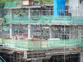 Concrete formwork of modern building at construction site Royalty Free Stock Photo