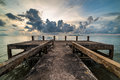 Concrete jetty along side to the sea Royalty Free Stock Photo
