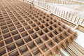 Concrete metal mesh reinforcement at construction site Royalty Free Stock Photo
