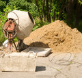 Concrete mixer on a building site Stock Images