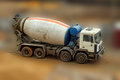 Concrete mixer truck on blurred background close up Stock Photography