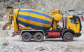 Concrete mixer truck on construction site Royalty Free Stock Photo