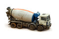Concrete mixer truck on a white background close up Stock Images