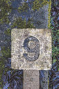 Concrete number 9 Royalty Free Stock Photo