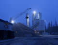 Concrete plant in the early morning hours Royalty Free Stock Photo