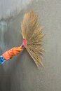 Concrete plaster cleaning by broom in construction site Stock Photo