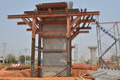 The concrete pole of a bridge construction Royalty Free Stock Photo