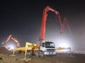 Concrete pump truck,Construction Stock Photo
