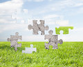 Concrete puzzle over blue sky and grass background Royalty Free Stock Photo