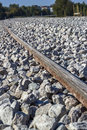 Concrete railway sleepers construction of line using Stock Images