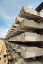 Concrete sleepers in railway construction site Royalty Free Stock Photos