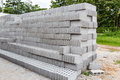 Concrete solid brick for sale are stacked layers Royalty Free Stock Photography