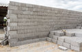 Concrete solid brick for sale are stacked layers Stock Photo