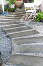 Concrete walkway in garden curve Royalty Free Stock Images
