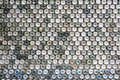Concrete wall made of recycled plastic bottles Royalty Free Stock Photo