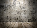 Concrete wall and wooden floor in a grunge style image Royalty Free Stock Photos