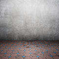 Concrete walls and brick floor for text and background Royalty Free Stock Photo